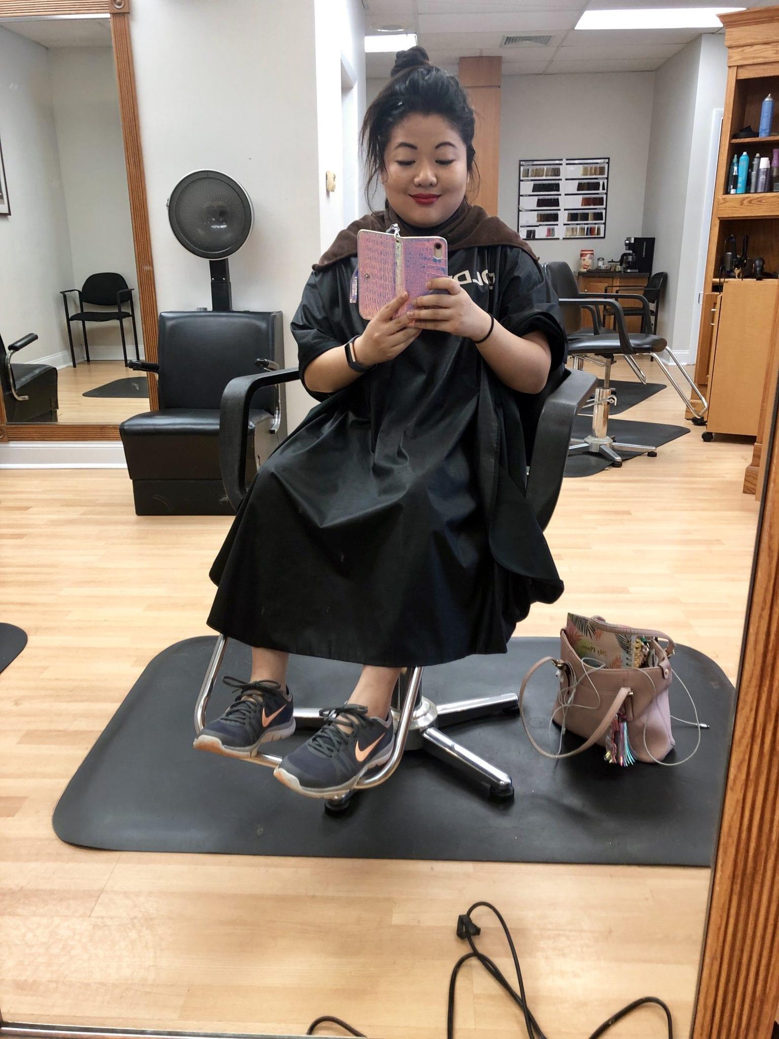 salon before hidden rainbow hair