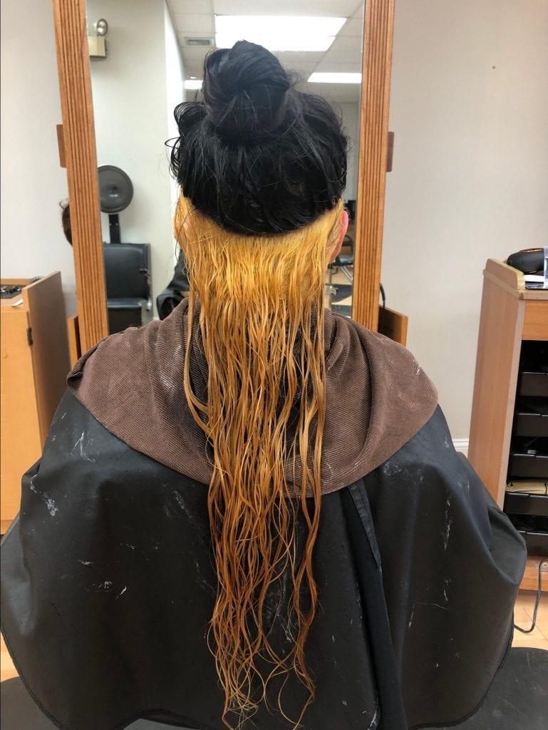 bleached hair half up