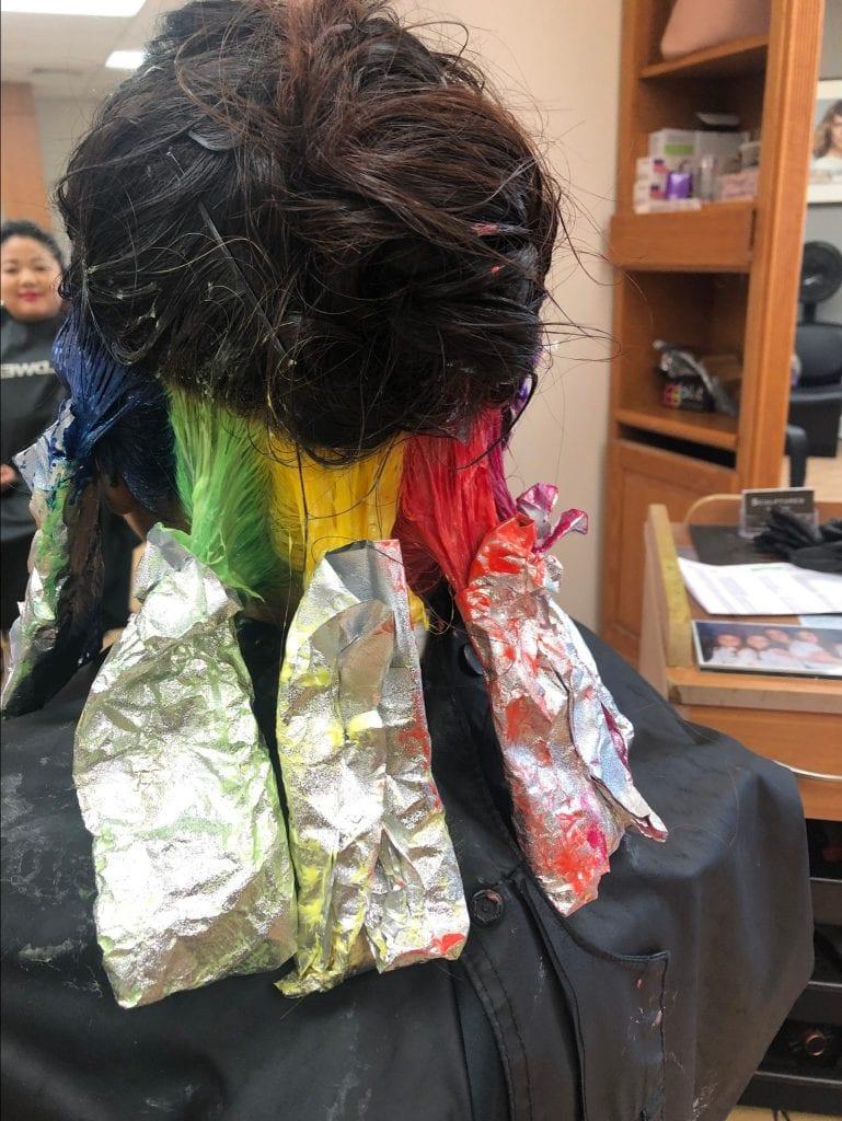 hidden rainbow hair dyes foils